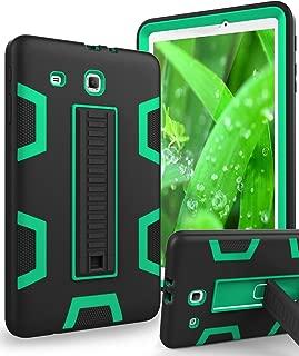 TIANLI Samsung Galaxy Tab E 9.6 Case Anti-Scratch Shockproof Three Layer Full Body Armor Protection with Sturdy Kickstand Anti-Fingerprint,Black Green