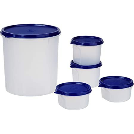 Amazon Brand - Solimo Round Plastic Containers, Set of 5 (2 x 310 ml, 2 x 225 ml, 1 x 3L), Blue