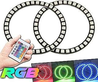 Qiuko 4pcs 110mm LED Angel Eyes Ring Multi-Color RGB 16 Color Changing Flashing 5050 COB Angel Eye Halo Ring Light Kit Plus Remote Control For BMW E30 Non-Projector E38 E36 E39 3 5 7 Series
