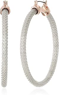 Kenneth Cole Women's Two-Tone Mesh Hoop Earrings, Silver