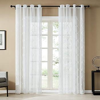 Topfinel 1pcs Rideaux Voilage Blanc 300x250cm En Lin Decoration