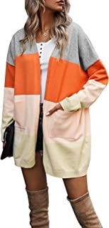 Vershow Women's Open Front Long Sleeve Striped Color Block Knit Cardigan Sweaters with Pockets