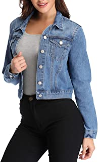 Women's Jean Jacket Washed Basic Button Down Denim Jacket w 2 Chest Pockets