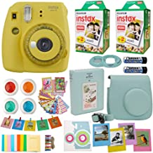 Fujifilm Instax Mini 9 Instant Camera + Fuji INSTAX Film (40 Sheets) Includes Camera Case + Frames + Photo Album + 4 Color Filters and More (Yellow)