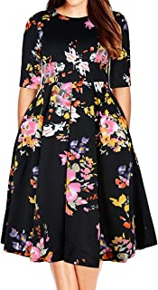 Samtree Women's Plus Size Floral 3/4 Sleeve Backless...