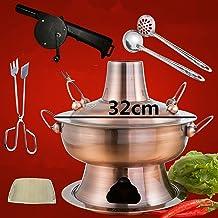 Pot chaud 2,8l acier inoxydable chaude chaude fondue chinoise fondue charbon de bois hotpot cuisinière extérieure cuisiniè...