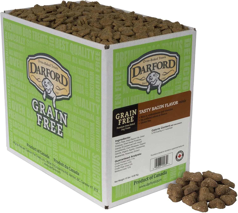 Darford Oven Baked Grain Free Tasty Bacon Flavor Minis Dog Treats, 15 lb