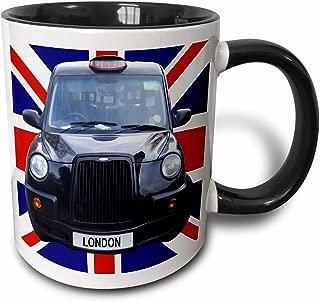 3dRose London Black Taxi Cab on British Flag Union Jack Background Uk Great Britain United Kingdom Travel Two Tone Black Mug, 11 oz, Black/White