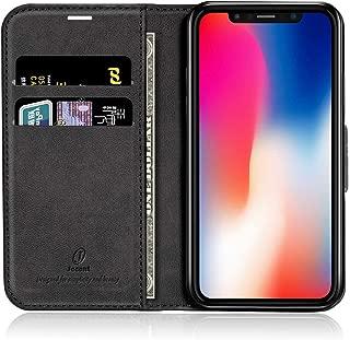 J Jecent iPhone X ケース iPhone XS ケース 手帳型 耐衝撃 マグネット 合皮レザー tpu素材 スリム・薄型 財布型 スタンド機能付き カード収納 黒 カードホルダー 防塵/防水 iPhone X/XS 手帳型カバー