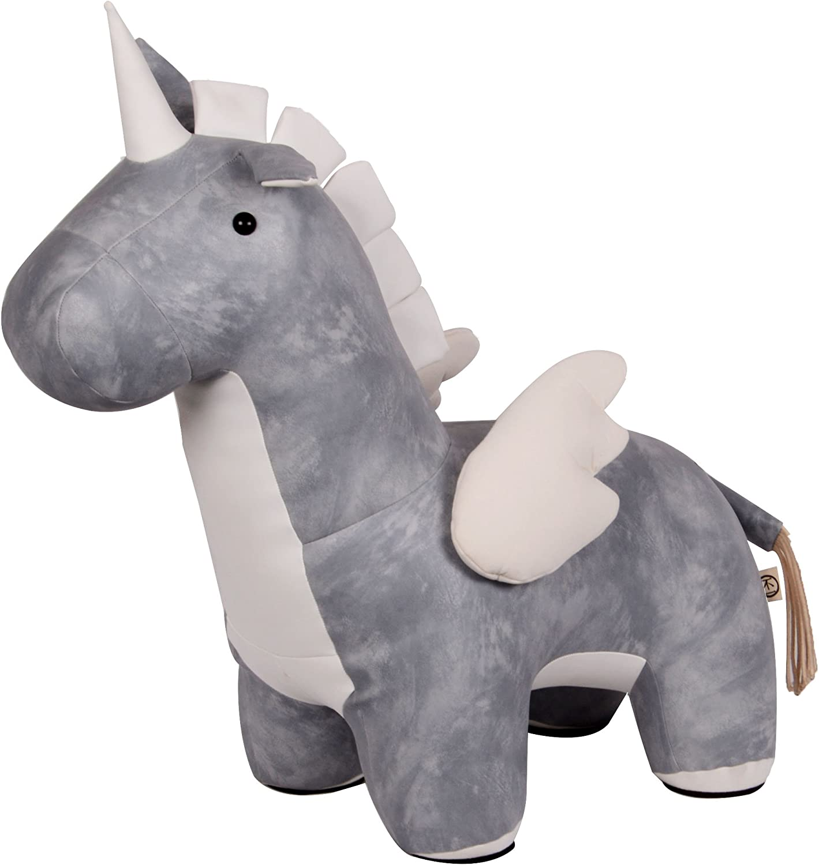 mejor oferta RM Design Grande de Piel Sintética Unicornio Unicornio Unicornio Asiento Animales Decoración Diseño Animal Peluche Azul gris 69cm  Compra calidad 100% autentica