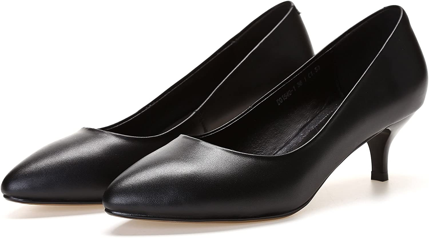Women's Classic Pointed Toe Work Pumps Heel shoes Black