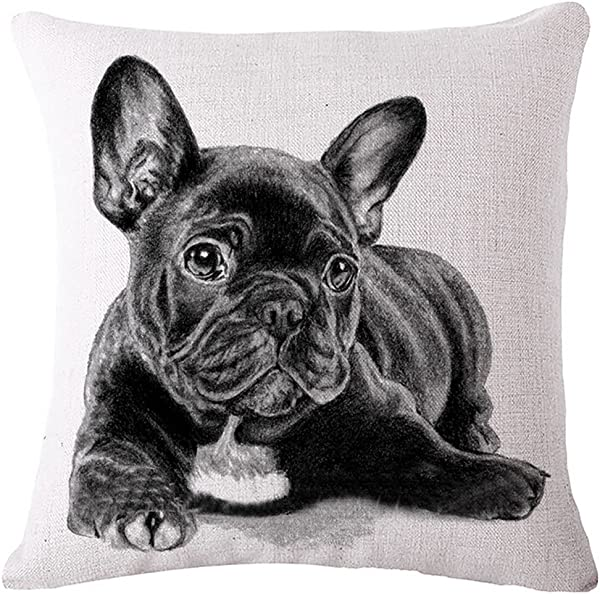 Diorama 17 7x17 7 Inch 45x45 Cm Cotton Linen Square Personalized Decorative Throw Pillow Case Cushion Cover Lovely French Bulldog Series Cushion Covers Pillow Cases 001