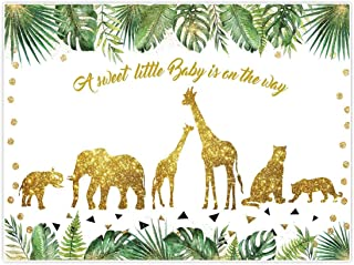 Allenjoy 8x6ft Safari Baby Shower Backdrop Tropical Palm Leaves Gold Decor Wild One for Jungle Animals Themed Children Birthday Photography Background Dessert Table Photo Studio Booth Props Banner