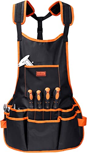 wholesale HORUSDY online sale Utility Canvas Work Apron with 16 Pockets, Tool Apron, Cross-Back Straps Adjustable Size, outlet sale Fits Men & Women, Protective and Waterproof sale