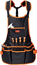 HORUSDY Utility Canvas Work Apron with 16 Pockets, Tool Apron, Cross-Back Straps..