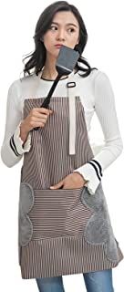 Adjustable Bib Apron with Pockets - 2 Side Coral Velvet Towels Stitched Durable Pinstripe Waterproof Cooking Aprons Suitab...