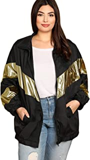 Romwe Women's Contrast Metallic Top Windbreaker Zip Up Jacket Outwear