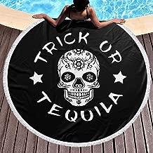 Round Beach Towel Sugar Skull Trick Tequila Halloween Large Blanket with Tassels Ultra Soft Multi-Purpose Beach Throw 59 Inch