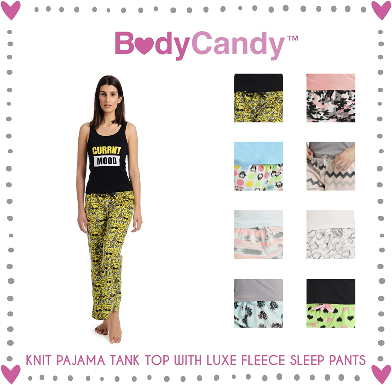 Body Candy Women's Knit Pajama Tank Top with Luxe Fleece Sleep Pants