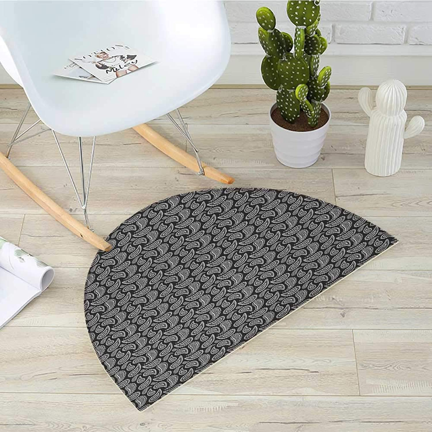Ethnic Half Round Door mats Leaf Paisley Classic Eastern Oriental with Victorian Effects Iranian Motif Bathroom Mat H 31.5  xD 47.2  Charcoal Grey White