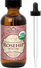 US Organic Rosehip Seed Oil, USDA Certified Organic, Amber Glass Bottle and Glass Eye Dropper for Easy Application - 60 ml