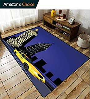Bigdatastore City Non Slip Area Rug Girls Bedroom, Skyscrapers and Taxi New York Theme American Downtown Scenic Skyline, Fashionable High Class Living Bedroom Rugs(6'x 9')