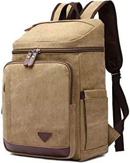 Dreneco Unisex Casual Vintage Backpack Canvas Daypack,Satchel Hiking Backpack for Work School College Business Travel Outdoor Large Backpack