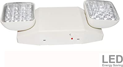 LIT-PaTH LED Emergency Exit Lighting Fixtures with 2 LED Heads and Back Up Batteries- US Standard Emergency Light, UL 924 and CEC Qualified, 120-277 Voltage (1-Pack)