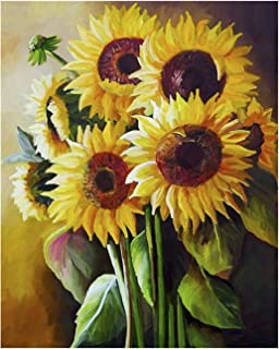 Sunflower Painting by Numbers for Adults DIY Oil Painting Kits, Geboor Paint by Number Kit on Canvas for Home Wall Decor 16inchx20inch