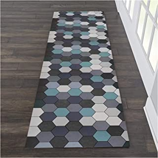 HAIPENG Colorful Hexagon Runner Rug for Hallway, Extra Long Hall Carpet Runners with Anti Slip Backing for Living Dining R...