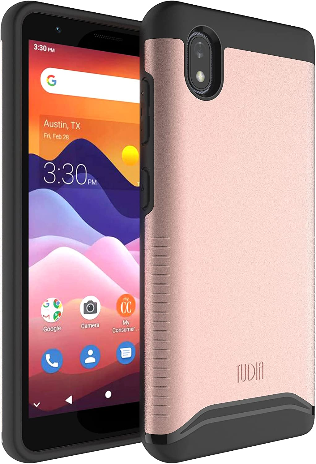TUDIA DualShield Designed for ZTE Avid 579/ZTE Blade A3 Joy Case, [Merge] Shockproof Heavy Duty Military Grade Dual Layer Hard PC Soft TPU Protective Case - Rose Gold