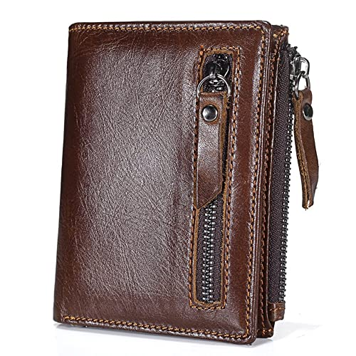 6e7689f93eb BestFire Mens Leather Wallet Bifold Zip Purse Retro Credit Card Holder  Double Zipper Pocket Wallet with