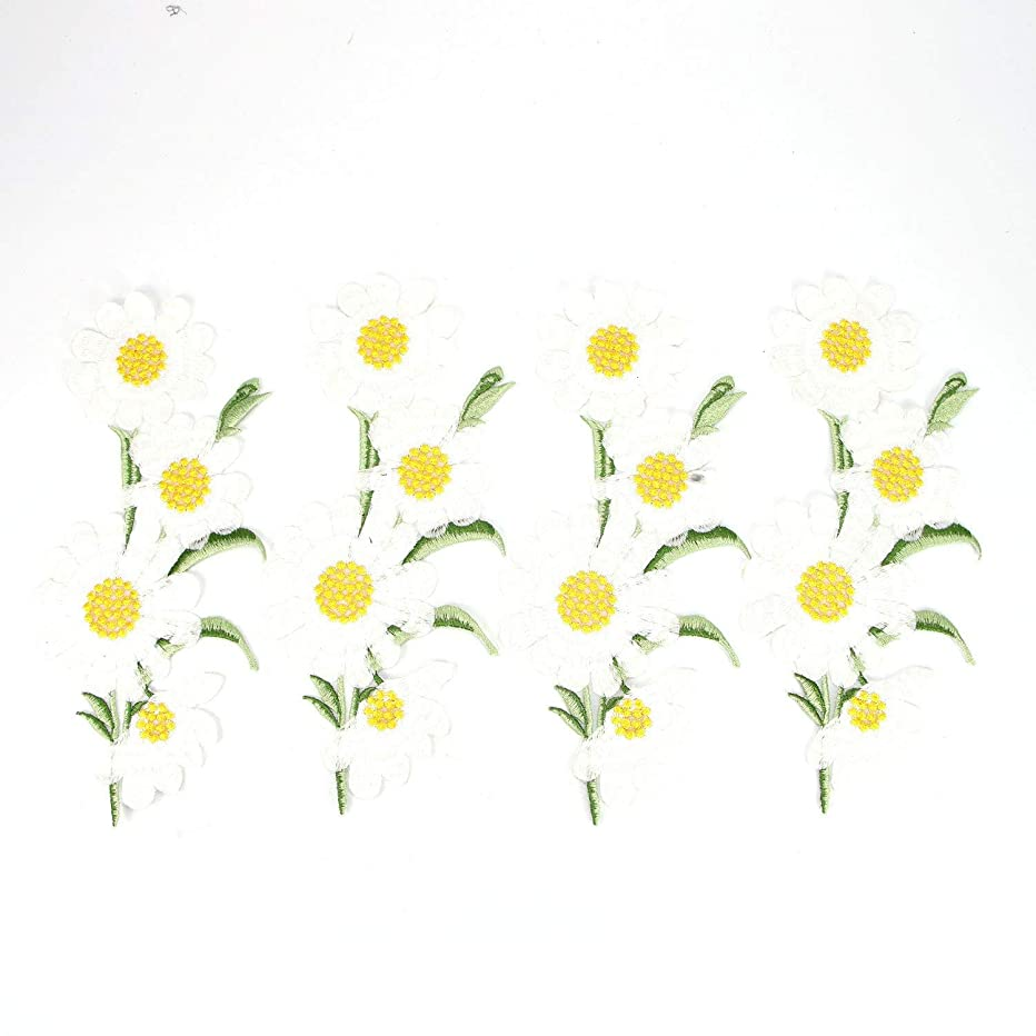 Monrocco 4 pcs Daisy Sew Iron on Applique Embroidered Patches