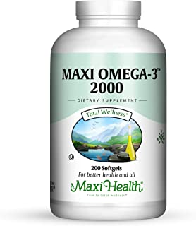 Maxi-Health Omega 3 Fish Oil – 2000 mg - Natural Source of DHA EPA and Fatty Acids – Healthy Blood Pressure, Heart and Imm...