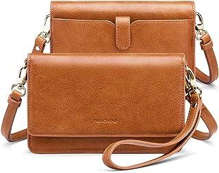 nuoku レディース スモール クロスボディ バッグ 携帯電話 財布 RFIDカードスロット付き 2ストラップリストレット (最大6.5インチ)