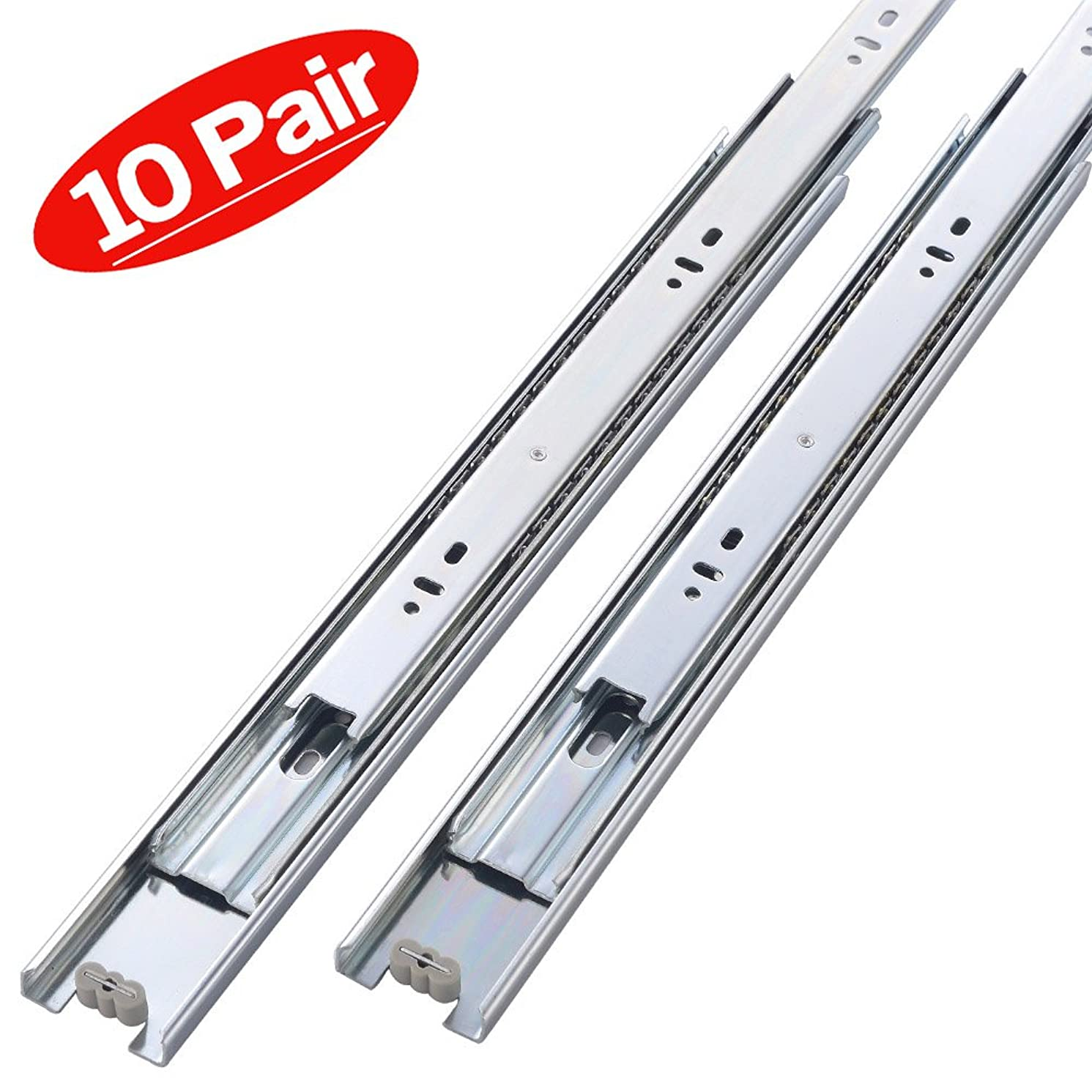 Friho 10 Pair of 20 Inch Hardware Ball Bearing Side Mount Drawer Slides, Full Extension, Available in 10'',12'',14'',16'',18'',20'' Lengths