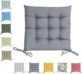 Cojín para exterior de alta calidad, resistente a la intemperie, resistente al agua y a la suciedad, 100% poliéster (cojín de asiento: 40 x 40 x 5 cm, gris)