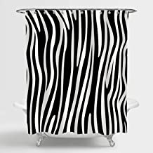 MitoVilla Black and White Animal Print Shower Curtain, Abstract Zebra Skin Striped Bathroom Decor, Waterproof Fabric Bathr...