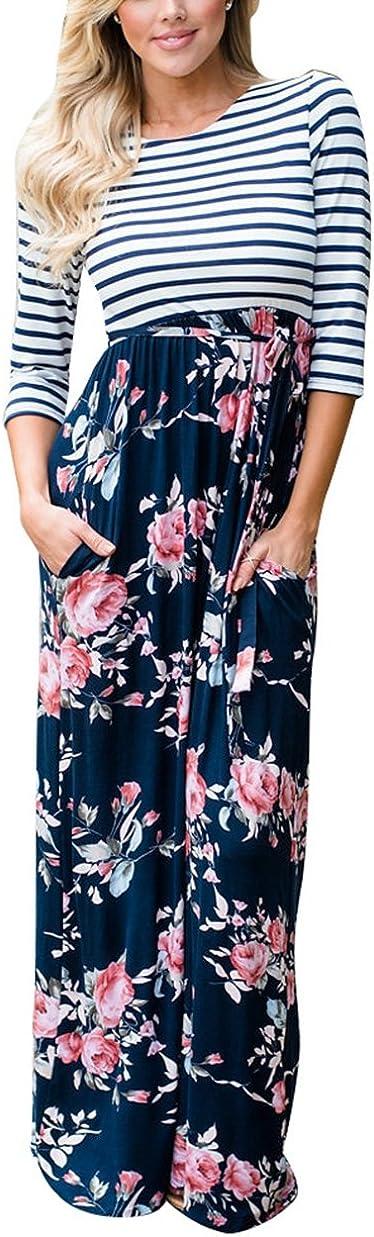 Womens Casual Stripe Print 3/4 Sleeve Floral Print Tie Waist Slim Maxi Dress
