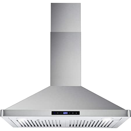 Cosmo 63175S 30 Inch 380 CFM Wall Mount Kitchen Range Hood with Soft Touch Digital Push Control and Energy Efficient LED Lighting, Stainless Steel