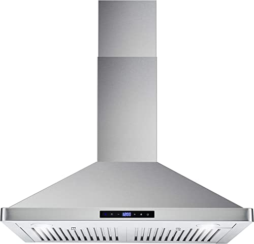 Cosmo 63175S 30 Inch 380 CFM Wall Mount Kitchen Range Hood with Soft Touch Digital Push Control and Energy Efficient ...