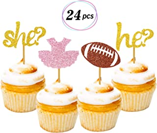 Tutus or Touchdowns Gender Reveal Cupcake Toppers 24 Pack Glitter Gender Reveal Party Cake Decoration Baby Shower Party Supplies