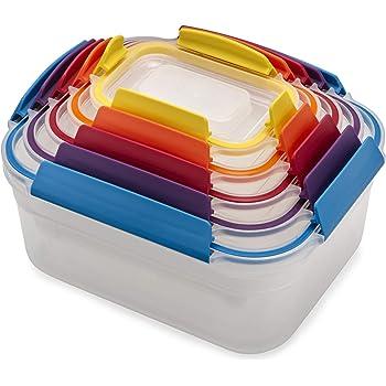 Joseph Joseph Nest Lock Plastic Food Storage Container Set with Lockable Airtight Leakproof Lids, 10-Piece, Multi-Color