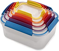 Joseph Joseph Nest Lock Plastic Food Storage Container Set with Lockable Airtight Leakproof Lids, 10-Piece, Multicolored