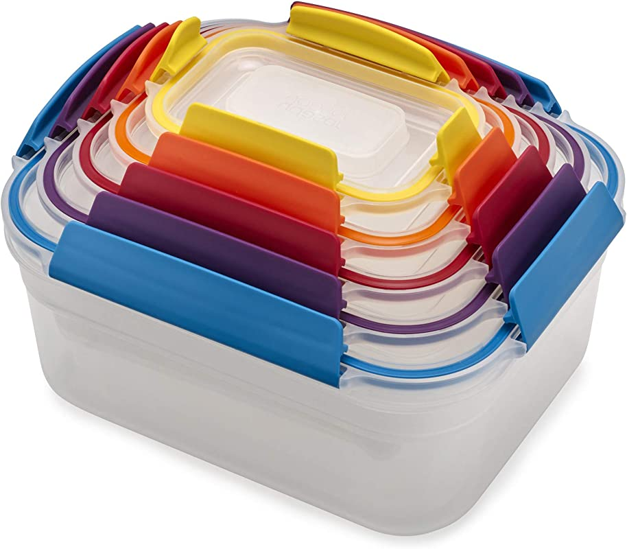 Joseph Joseph 81098 Nest Lock Plastic Food Storage Container Set With Lockable Airtight Leakproof Lids 10 Piece Multicolored