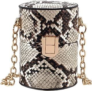 Heidi Women Fashion Snakeskin Print Chain Shoulder Bag Cylindrical Bucket Bag Coin Purse