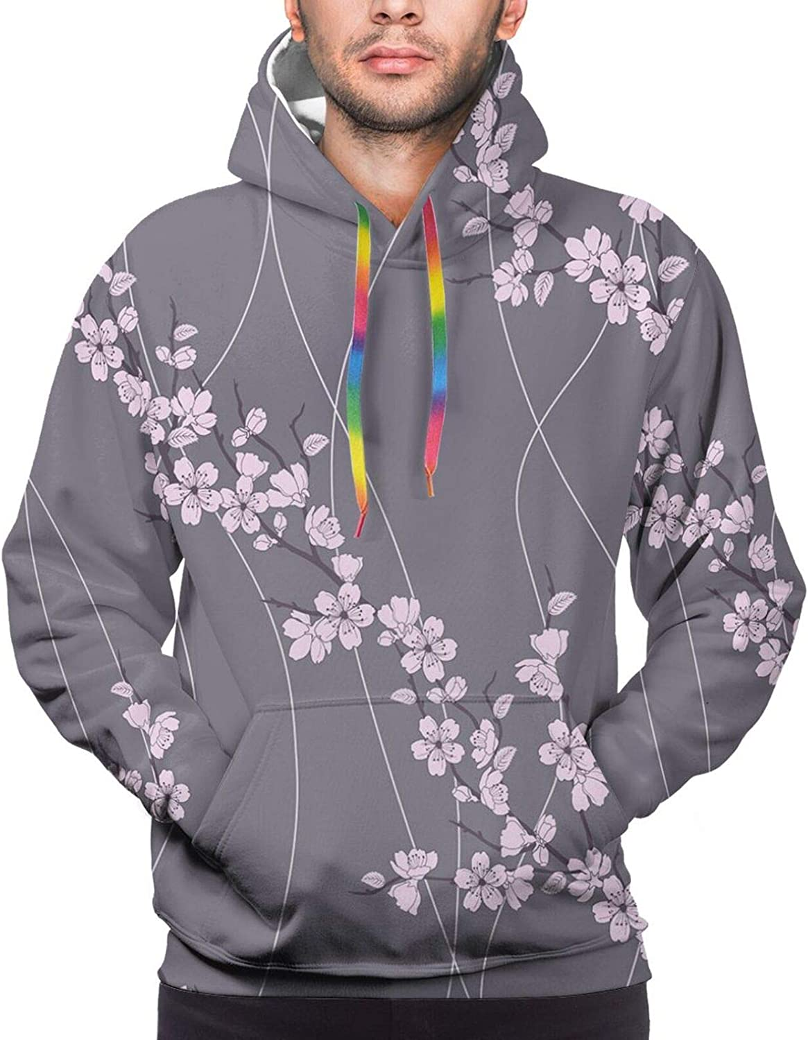 Men's Hoodies Sweatshirts,Asian River Scenery with Cherry Blossoms Boat Cultural Hints Mystical View Artsy