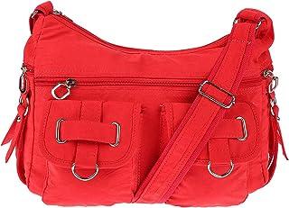 Christian Wippermann Damenhandtasche Schultertasche aus Canvas Rot