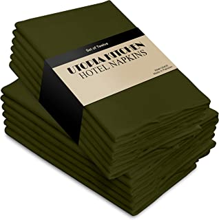 Utopia Kitchen Cloth Napkins 18 by 18 Inches, 12 Pack Olive Dinner Napkins, Poly Cotton Soft Durable Napkins