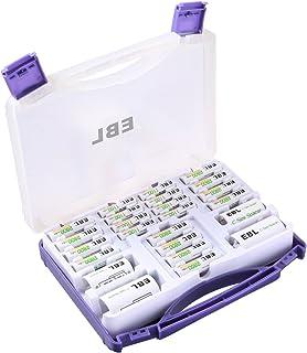 EBL 充電池ファミリーセット 充電式ニッケル水素 単三(2800mAh)*12+単四充電池(1100mAh)*8+単一スペーサー*2+単二スペーサー*2(丈夫で紫保管ケース)